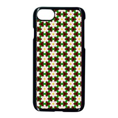 Pattern Flowers White Green Iphone 7 Seamless Case (black)
