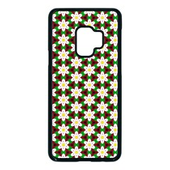 Pattern Flowers White Green Samsung Galaxy S9 Seamless Case(black) by HermanTelo