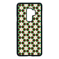 Pattern Flowers White Green Samsung Galaxy S9 Plus Seamless Case(black) by HermanTelo