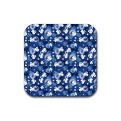 White Flowers Summer Plant Rubber Coaster (square)