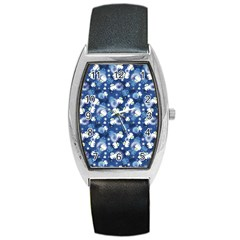 White Flowers Summer Plant Barrel Style Metal Watch