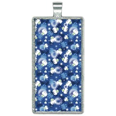 White Flowers Summer Plant Rectangle Necklace