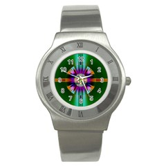 Abstract Art Fractal Creative Green Stainless Steel Watch