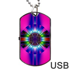 Abstract Art Fractal Creative Pink Dog Tag Usb Flash (two Sides) by Sudhe