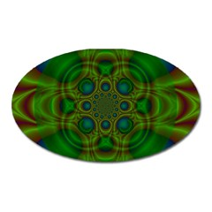 Abstract Background Design Green Oval Magnet by Sudhe