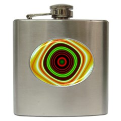 Digital Art Background Yellow Red Hip Flask (6 Oz)