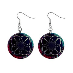 Fractal Artwork Abstract Background Art Pattern Mini Button Earrings