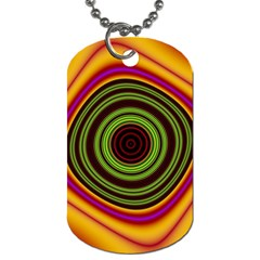 Digital Art Background Yellow Red Dog Tag (two Sides)