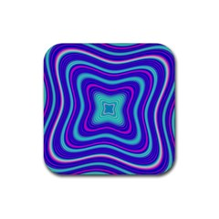 Abstract Artwork Fractal Background Blue Rubber Coaster (square)
