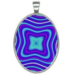 Abstract Artwork Fractal Background Blue Oval Necklace