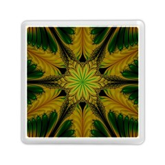 Abstract Flower Artwork Art Green Yellow Memory Card Reader (square)