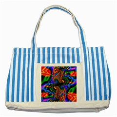 Abstract Fractal Artwork Colorful Striped Blue Tote Bag