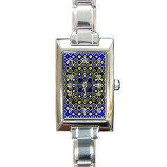 Digital Art Background Yellow Blue Rectangle Italian Charm Watch