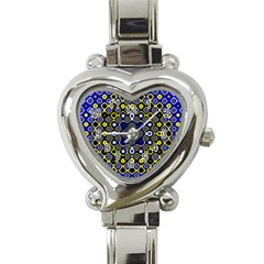 Digital Art Background Yellow Blue Heart Italian Charm Watch