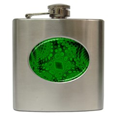 Background Texture Design Geometric Green Black Hip Flask (6 Oz)