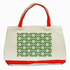 Green Leafs 3 Classic Tote Bag (red)