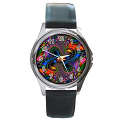 Abstract Fractal Artwork Colorful Round Metal Watch