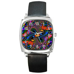 Abstract Fractal Artwork Colorful Square Metal Watch