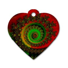 Abstract Fractal Pattern Artwork Art Dog Tag Heart (one Side) by Sudhe