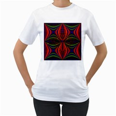 Abstract Art Fractal Women s T Shirt (white) (two Sided)