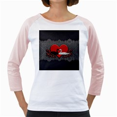In Love, Wonderful Black And White Swan On A Heart Girly Raglan by FantasyWorld7
