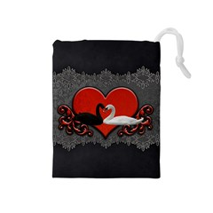 In Love, Wonderful Black And White Swan On A Heart Drawstring Pouch (medium) by FantasyWorld7