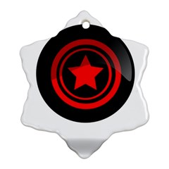 Star Black Red Button  Snowflake Ornament (two Sides)