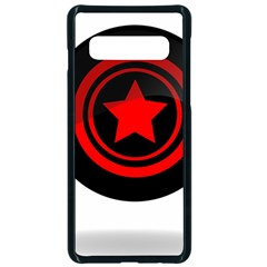 Star Black Red Button  Samsung Galaxy S10 Seamless Case(black)