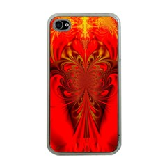 Digital Arts Fractals Futuristic Red Yellow Black Iphone 4 Case (clear)