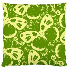 Butterflies Pattern Background Green Decoration Repeating Style Sketch Large Cushion Case (two Sides)