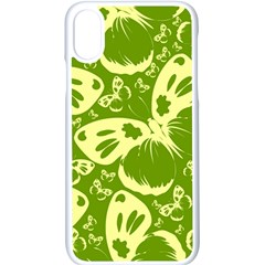 Butterflies Pattern Background Green Decoration Repeating Style Sketch Iphone X Seamless Case (white) by fashionpod