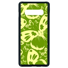Butterflies Pattern Background Green Decoration Repeating Style Sketch Samsung Galaxy S10 Plus Seamless Case (black)
