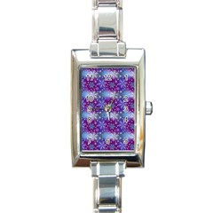 Snow Blue Purple Tulip Rectangle Italian Charm Watch by Jojostore