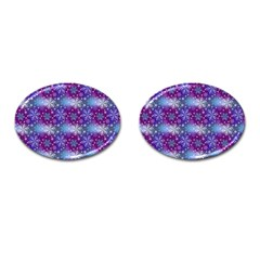 Snow Blue Purple Tulip Cufflinks (oval)