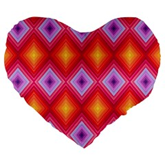 Texture Surface Orange Pink Large 19  Premium Heart Shape Cushions
