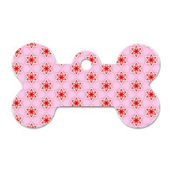 Texture Star Backgrounds Pink Dog Tag Bone (one Side)