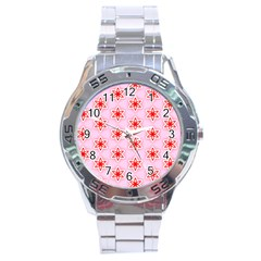 Texture Star Backgrounds Pink Stainless Steel Analogue Watch