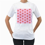Texture Star Backgrounds Pink Women s T-Shirt (White)  Front