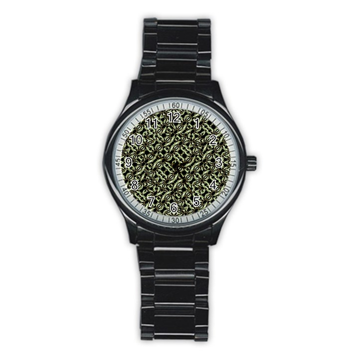 Modern Abstract Camouflage Patttern Stainless Steel Round Watch