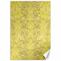 Flowers Decorative Ornate Color Yellow Canvas 12  X 18  by pepitasart