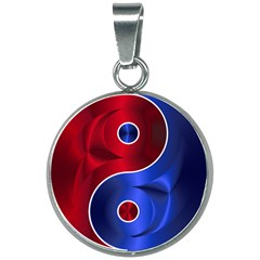 Yin Yang Eastern Asian Philosophy 20mm Round Necklace by Bejoart