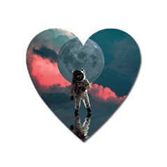 Astronaut Moon Space Nasa Planet Heart Magnet by Bejoart