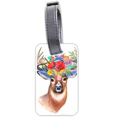 Stag Wildflower Floral Boho Flower Luggage Tag (one Side)
