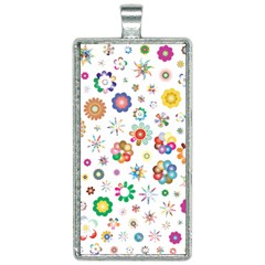 Flower Floral Pattern Rectangle Necklace by Bejoart