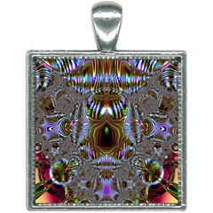 Art Artwork Fractal Digital Art Square Necklace by Pakrebo