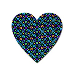 Have Fun Multicolored Text Pattern Heart Magnet by dflcprintsclothing