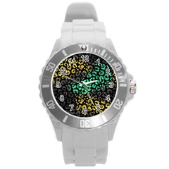 Modern Abstract Animal Print Round Plastic Sport Watch (l) by tarastyle