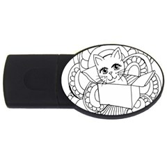 Cute Cat Coloring Page Design Usb Flash Drive Oval (4 Gb)