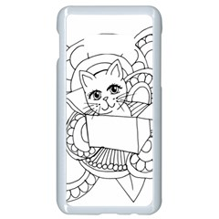 Cute Cat Coloring Page Design Samsung Galaxy S10e Seamless Case (white) by Wegoenart