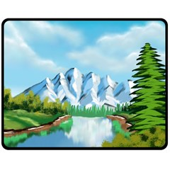 Digital Design Landscape Mountains Fleece Blanket (medium)  by Wegoenart